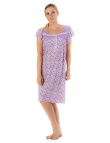 Casual Nights Women's Cap Sleeves Embroidered Floral Lace Night Gown - Purple - 3X -