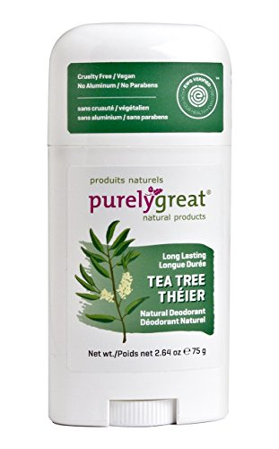 Purelygreat Natural Deodorant Stick - Tea Tree - EWG Verified - Vegan, Cruelty Free - No Aluminum, No Parabens - Essential Oils