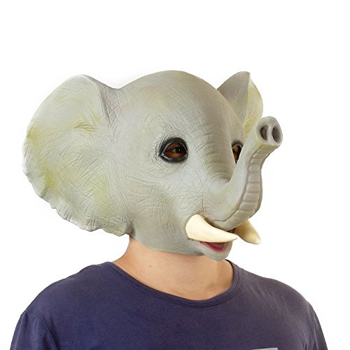 [USATDD Latex Animal Head Mask For Halloween Costume Cosplay Party Deluxe Novelty Gift (Elephant)] (Costume Design For Rabbit Hole)