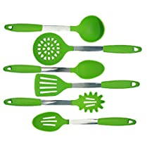JYPC Set of 6 Silicone Cooking Utensil Set Tools Cookware Set Kitchen Gadgets (Green)