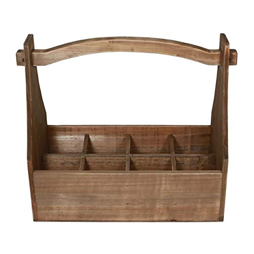 Basket Bins 8 Compartment Storage with High Handle - Hand-Crafted Wood Storage Crate - Brown by Basket Bins (Image #3)