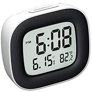 Mpow Travel Alarm Clock, Digital Clock with Snooze, Backlit, Temperature, Date, Simple Basic Operation, Bedside Digital Clock Battery Powered for Bedroom, 12/24H (White)
