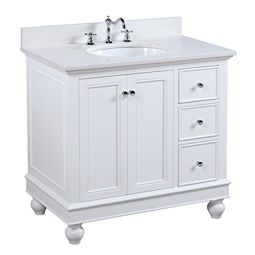 Bella 36-inch Bathroom Vanity (Quartz/White): Includes a White Cabinet with Soft Close Drawers, Quartz Countertop, and Ceramic ()