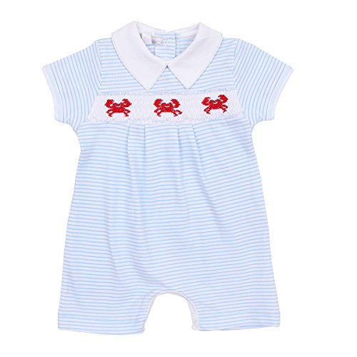 Blue Collared Romper - Magnolia Baby Baby Boy Classic Crab Smocked Collared Short Playsuit Blue 3 Months