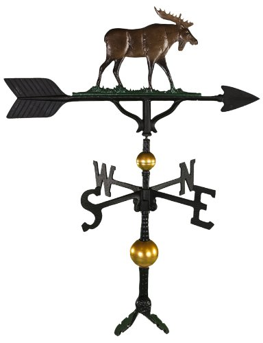 Montague Metal Products 32-Inch Deluxe Weathervane with Color Moose Ornament