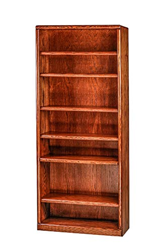 Forest Designs HFF-6125-BG Standard Bookcase, 36W x 13D x 84H, Golden Oak