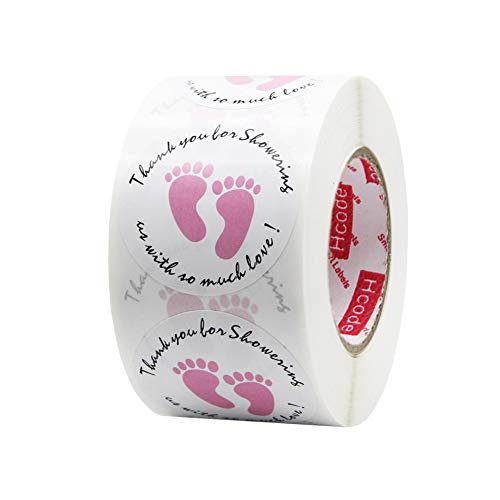 Hcode 1.5 Inch Thank You for Showering Us with So Much Love with Cute Pink Foot Print Round Baby Shower Stickers Total 500 Labels Per Roll (Pink)