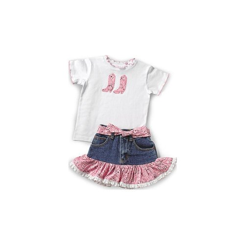2 Clothes Piece Western (KIDDIE KORRAL 2 PIECE DENIM SKIRT AND TEE, Pink, 6)