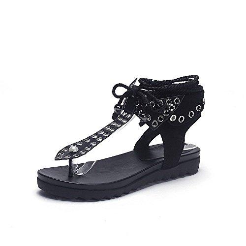 AllhqFashion Mujeres Puntera Dividida Mini Tacón Material Suave Tachonado Cordones Sandalia Negro