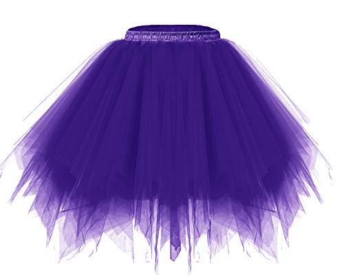 Bridesmay Women's Tutus Tulle Skirt 50s Vintage Petticoat Ballet Bubble Skirts Purple XL -