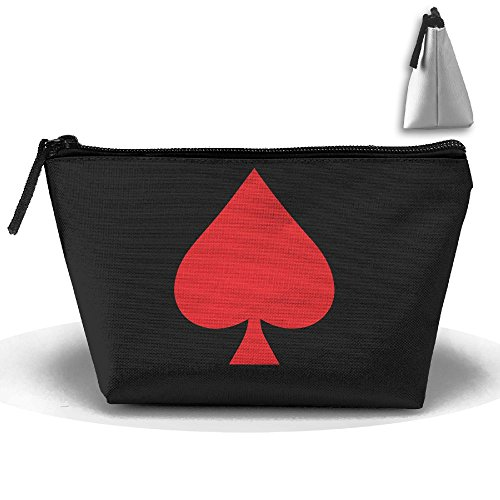 HTSS Red Spade Ace Red Queen Poker Portable Makeup Receive Bag Storage Large Capacity Bags Hand Bag Travel Wash Bag For Travel With Hanging Zipper