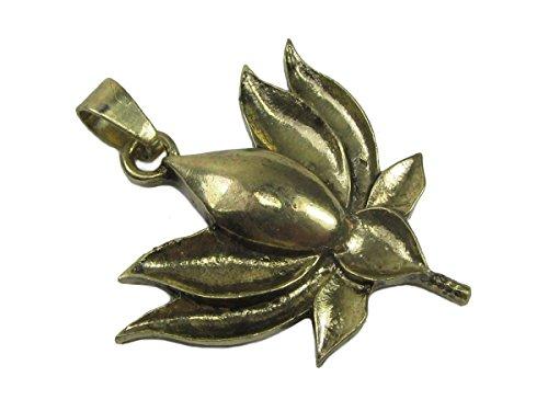 Spiritual Lotus Flower Gold Tone Brass Contoured Pendant w/ Chain Link Necklace