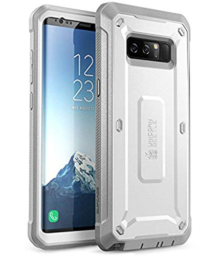 SUPCASE Galaxy Note 8 Case, Full-body Rugged Holster Case with Built-in Screen Protector for Galaxy Note 8 (2017 Release), Unicorn Beetle Shield Series - Retail Package(White/Gray)