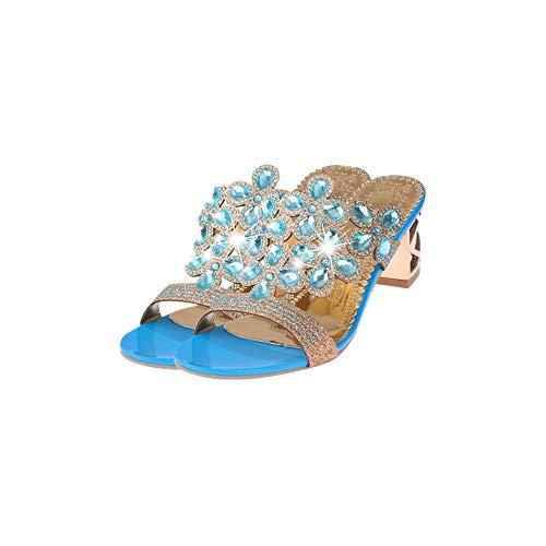 1fa100178b5 👀Slippers Pantoufles l été Femme honestyi la Mode des Tongs Talon Haut été  Grosses Chaussures Sandales de Strass Chaussures  Amazon.fr  Chaussures et  Sacs