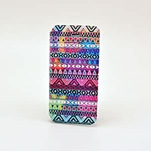 QJM Clorful Outer Space Tribal Drawing Pattern PU Leather Full Body Case with Card Slot and Stand for iPhone 5/5S