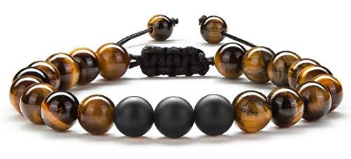 - Hamoery Women 8mm Tiger Eye Matte Beads Bracelet Braided Rope Natural Stone Yoga Bracelet Bangle (Tiger Eye Matte)