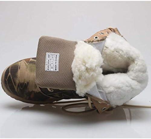 KODH Military Tactical Stiefel Mikrofaser Leder Warm Camo Hoch Hilfe Lace Up Style Halten Boot Antislip Wandern Anti-Verschleiß Gummisohle (Farbe : Grau, Größe : 43 EU)