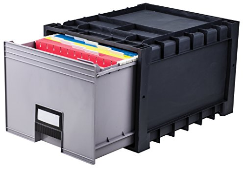 Storex Plastic Archive Storage Drawer with Lock, Letter Size, 18-Inch Drawer, Black (Single Drawer File Cabinet)