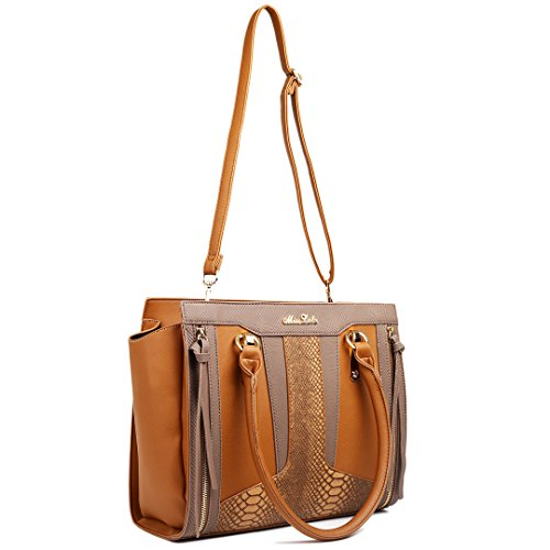 Brown Miss Brown Contrast Snakeskin Leather Shoulder Lulu Look Bag Brown Structured qwxr6Szqnp