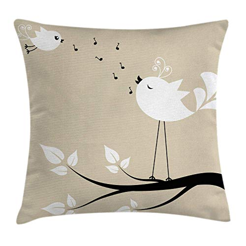 Better2019 Birds Throw Pillow Cushion Cover, Two Birds on a Branch Singing Love Songs Friend Valentine Couple Hope Living, Decorative Square Accent Pillow Case, 18 X 18 inches, Cream Black White ()