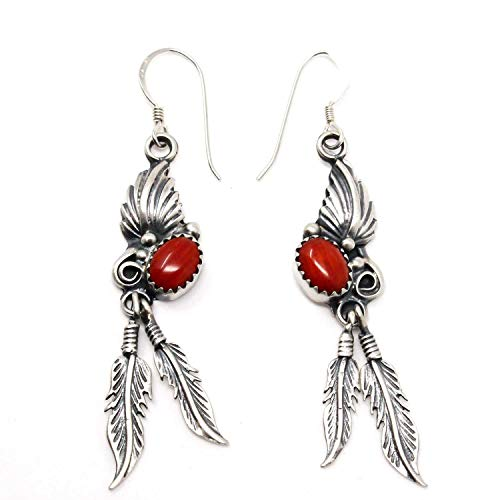 (Navajo Sterling Silver & Coral Feather Dangle Earrings   1 7/8