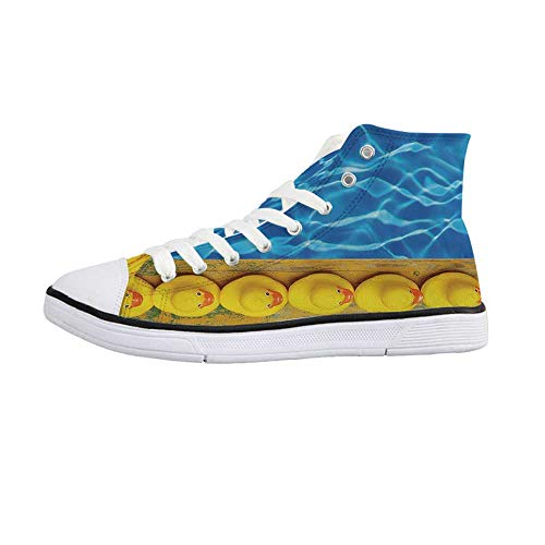 - Yellow and Blue Stylish High Top Canvas Shoes,Cute Rubber Ducks Lined Up Near The Pool Azure Water Fun Summer Decorative for Men & Boys,US 10