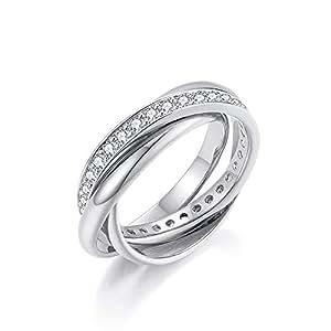 Italina Fashion Jewelry Three Band Interlocking Ring Polished Triple Roll Band Ring with CZ Band Size 7 Rhodium Plated
