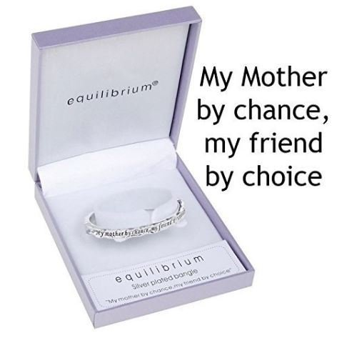 "equilibrium Silver Plated Mum Bangle with The Inscription - 'My Mother by Chance, My Friend by Choice' My Friend By Choice"" Joe Davies 7002"