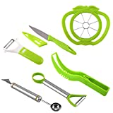 Coralpearl Plastic Stainless Steel Kitchen Fruit Carving Tool Set Garnishing Melon Baller Scoop Spoon Knife Shapes Kit With Apple Cutter Corer, Watermelon Slicer Cutter Server and Peeler Pack of 6