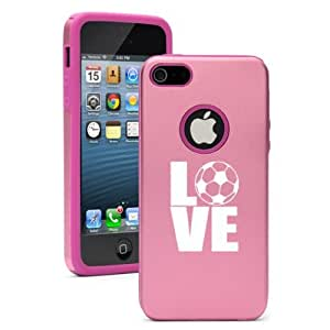 Apple iPhone 5 5S Pink 5D327 Aluminum & Silicone Case Cover Love Soccer