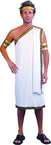 Mens Fancy Party Dress Noble Man Greek God White Roman Toga Caesar Costume ()
