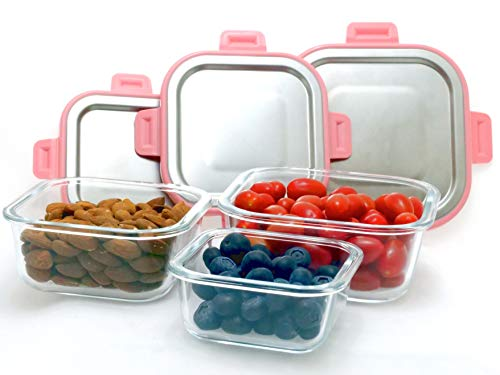 (Glass Food Container Set With First-Class Luxury Brushed Stainless Steel Locking Lids For That Exclusive Beautiful Feel. For Meal Prep, Storage, Lunch Box, Portion Control)