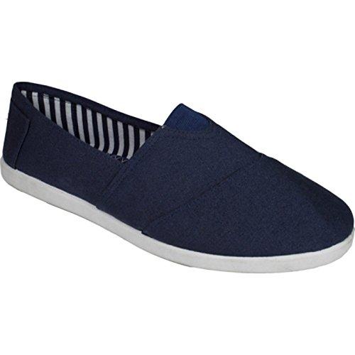 Nouvelle Toile Ballerines Slip On Espadrille Loafer Femmes Chaussures Marine * 2219