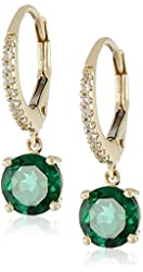 10k Yellow Gold, Created Emerald, and Created White Sapphire Dangle Earrings