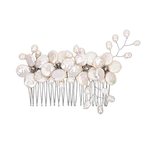 Floral Wreath Cultured Freshwater Coin Pearl Bridal Hair Comb ()
