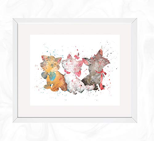 Berlioz, Toulouse, and Marie Prints, The Aristocats Disney Watercolor, Nursery Wall Poster, Holiday Gift, Kids and Children Artworks, Digital Illustration Art