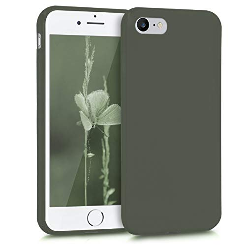 kwmobile TPU Silicone Case for Apple iPhone 7/8 - Soft Flexible Shock Absorbent Protective Phone Cover - Olive Green Matte