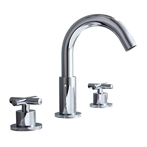 JinYuZe Chrome Widespread Bathroom Sink Faucet with Double Cross Handles, Gooseneck Swivel Spout ()