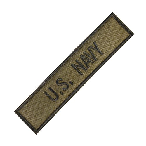 2AFTER1 US Navy USN Name Tape Olive Drab OD Green Embroidery Military Fastener Patch 1