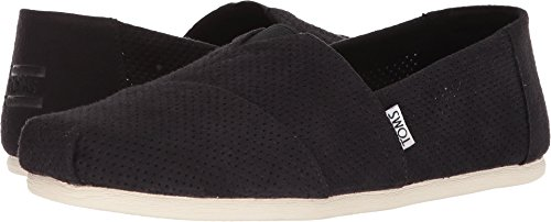 Black Synthetic Suede Footwear - TOMS Men's Seasonal Classics Black Perforated Synthetic Suede 8.5 D US