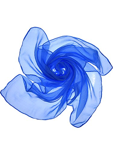 Blue Chiffon - Satinior Chiffon Scarf Square Handkerchief Satin Ribbon Scarf for Women Girls Ladies, 23.6 by 23.6 Inch (Chiffon Royal Blue)