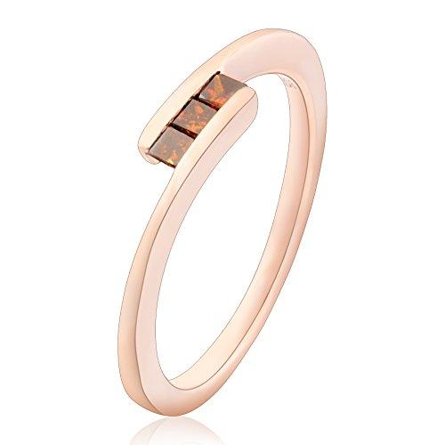 (Prism Jewl 0.15 Carat Princess Cut 3 Cognac Diamond Tension Set Trilogy Ring, 10k Rose Gold, Size 7.5)