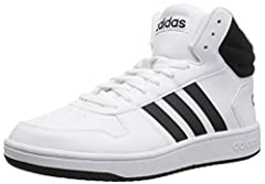 B-ball style gets a reboot. Modern and streamlined, these men's shoes feature a leather-look upper and a breathable mesh collar. 3-Stripes on the sides add a classic touch.