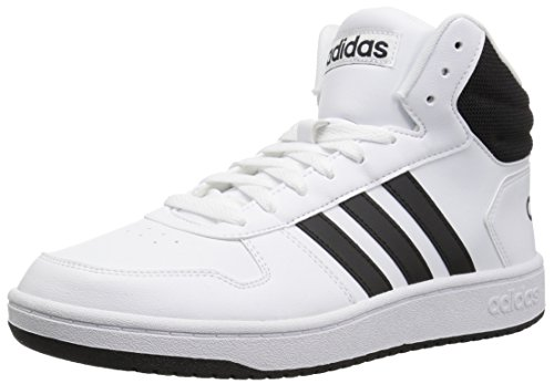 adidas Men's Hoops 2.0 Mid Basketball Shoe, White/Black/Black, 9 M US