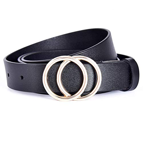 - Talleffort Genuine Leather Belts for Women Double O-Ring buckle Belt for Jeans Pants Dresses Black-M
