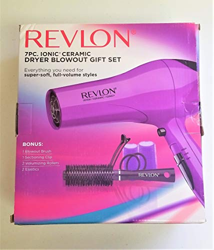 Revlon Ionic Ceramic Hair Dryer Blowout Set, Purple, 7pc ()