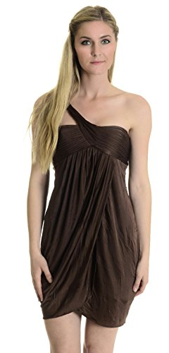 BCBG Max Azria Women's One Shoulder Dress, Chestnut, 4