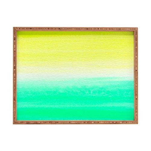 Yellow Rectangular Tray - Deny Designs Rebecca Allen When Yellow Met Turquoise Indoor/Outdoor Rectangular Tray, 14 x 18