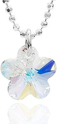 butterfly Niña Collar de ámbar Plata Colgante Corazón Swarovski Elements Azul Claro Longitud-ajustable Satén los Bolsos Joyas Regalo Para