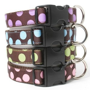 Two Tone Dots Brown Dog Collar-XL(24_35)-PINK/BROWN